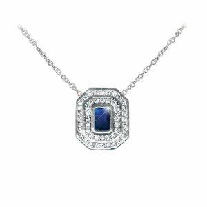 Sapphire & White Stone Pendant