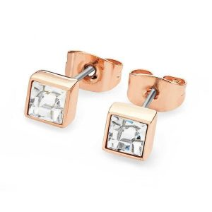 April - Square Birthstone Earrings