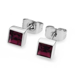 February- Square Birthstone Earrings