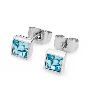 March - Square Birthstone Earrings