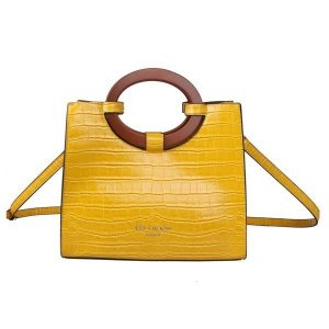 Yellow Croc Effect Tote Bag