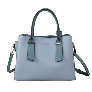 Blue Tote with Contrast Handles
