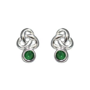 Trinity & Emerald Stud Earrings