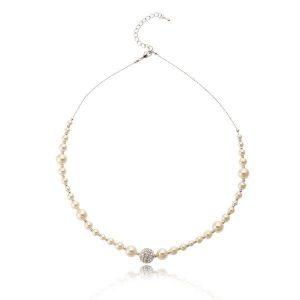 Agnelia Rhodium & Pearl Necklace