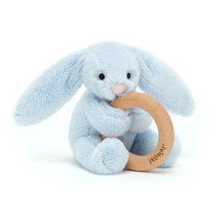 Jellycat Bashful Blue Wooden Ring Bunny