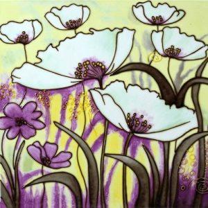 Ceramic Wall Art - White & Purple Flowers