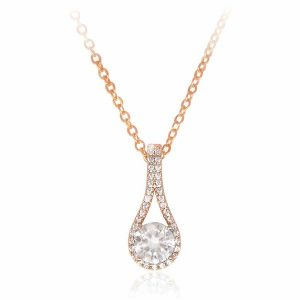 Pendant with Round Cz In Hammock